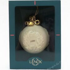 Lenox China 1996 Ball w/ Wreath Annual Xmas Tree Holiday Ornament w/ Big Bow Mib