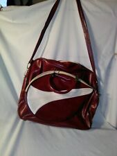 Vintage Rare Tennis Bag Cream Leather Burgundy Retro Style Double Racquet Case