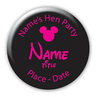 Personalised Disney Mickey Theme Hen Party Birthday Badges & Mirrors  BB392