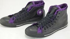 Converse Chuck Taylor Double Upper Black Leather Quilted Purple Hi Top Trainers