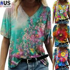 Women Summer V Neck Short Sleeve T Shirt Floral Print Casual Blouse Loose Tops