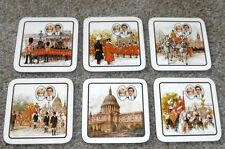 ROYAL WEDDING July 29, 1981 Princess Diana Prince Charles 6 coasters Clover Leaf