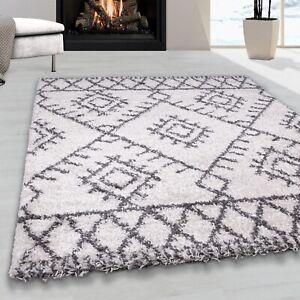 Ivory Cream Fringe Shaggy Rug Scandi Living Room Rugs Geometric Bedroom Rug Mats