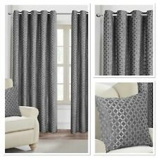 Rapport Luxury Fully Lined Palermo Eyelet Curtains Silver 4 Sizes Available