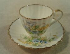 "Vintage ""Jason"" white with blue pansies trimmed in gold cup & saucer set Mint"