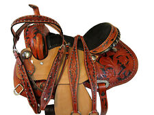 Floral Rough Out Carved Tooled Leather Horse Saddle Western Tack Set Painted