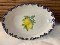 NEW PAPART HAND PAINTED IN TURKEY LARGE SERVING BOWL LEMON BLUE WHITE OVAL