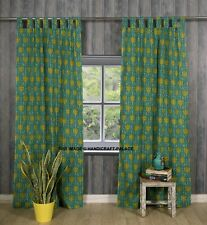 Indian Green Floral Print Curtain Tab Top Tapestry Curtains Window Boho Valance