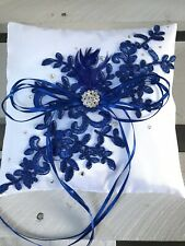 White Navy Wedding Engagement Ring Cushion Bearer Pillow Lace Diamanté Feather