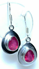 Real Ruby Earring Sterling SILVER dangle Earrings red Gemstone 925 Jewelry Gifts