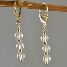 14k Gold Filled Natural Clear Quartz Faceted Dangle Earrings