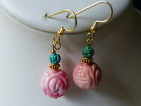 Lovely earrings with antique Chinese carved coral and turquoise Shou beads