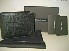 NEW Dolce & Gabbana D&G Mens Pebbled Black Leather Bifold Coin Wallet Italy Box