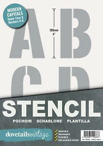 """Letter Stencils and Numbers 10cm tall (4"""") ALPHABET 9 x Sheets Modern CAPITALS"""