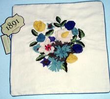 """Sferra Bateau Decorative Pillow COVER Ivory Linen w/Floral Bouquet 16"""" New"""
