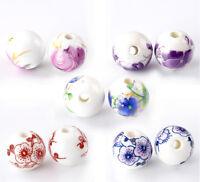 30 Mix Farben Blumen Muster Rund Keramik Spacer Perlen Beads zum Basteln 12mm