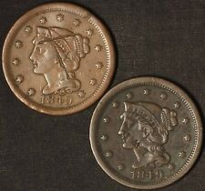 1849 (2) Braided Hair Large Cents - Graffiti - Free Shipping Usa