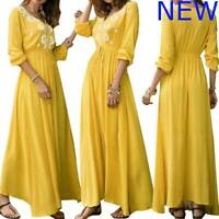 Casual Dress Party Long Sleeve Womens V Neck Dresses Boho Floral Cocktail Maxi