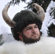Vintage Lodge Buffalo FUR & Horns Medicine Head Dress OOAK