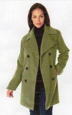 NEW JESSICA LONDON WOMENS WOOL-BLEND PEA COAT - SIZE: 22  COLOR: MOSS GREEN