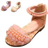 Kids Baby Girls Summer Ankle Strap Sandals Toddler Oxford Flats Princess Shoes