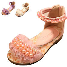 Toddler Kid Girl Summer Lace Princess Sandal Ankle Strap Flat Oxford Dress Shoes