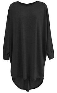 Women Plain Oversized Long Sleeve Batwing Dip Hem Baggy Ladies loose Top Plus