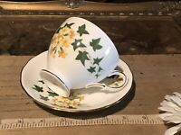 Vintage Queen Anne England Porcelain Bone China Cup & Saucer Yellow Floral