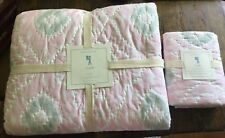 Pottery Narn Kids Claire Ikat Pink White Twin Quilt + Sham NWT