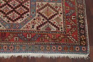 Pre-1900 Antique Geometric Vegetable Dye Shirvan Kazak Caucasian Wool Rug 4'x5'