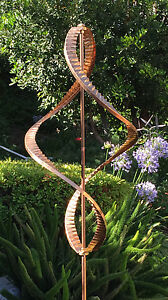 Stanwood Wind Sculpture - Kinetic Copper Dual Helix Spinner