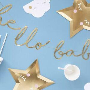 Baby Shower Gold Bunting 'Hello Baby'   Banner Sign Gender Decoration 70cm