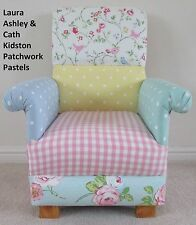 Laura Ashley Patchwork Fabric Child Chair Kids Pastel Pink Gingham Spots Flowers