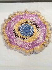 "Vintage 11"" Multi-Color Hand Crochet Crocheted Doily"