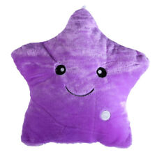 Star Glow LED Luminous Light Pillow Cushion Soft Relax Gift Smile Purple R1BO