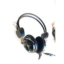 Auriculares Casco Micrófono On-Ear Música PARA Ordenador Portátil PC 3,5mm 2,5m