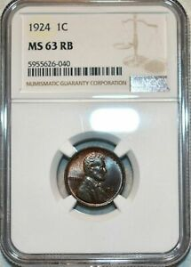1924-P U.S 1 CENT LINCOLN CENT NGC MS 63 RB STUNNING COLOR AMAZING EYE APPEAL