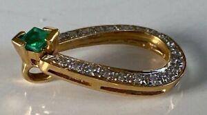 SUPERB FINE QUALITY 18CT GOLD DIAMOND & EMERALD PENDANT