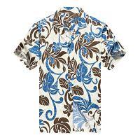Made in Hawaii Men Hawaiian Aloha Shirt Luau Beach Cruise Totem Leaf Blue Brown