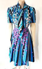 Vintage 1960s 60s Blue Mod Scooter Dress Uk Size 10 - 12
