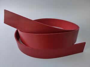 "8 oz Red Genuine Leather Strap Strip Band Natural Leather Belt Blank 59"" / 150cm"
