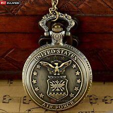 Pocket Watch Necklace Quartz Air Force Bronze Eagle Pendant Retro Steampunk Gift