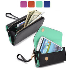 Fad Bicast Leather Protective Wallet Case Clutch Cover for Smart-Phones MLUB4