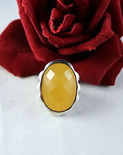 Sterling Silver Huge Faceted Yellow 18g Ring Size 6 Cat Rescue