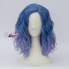 Lolita Mixed Light Blue Ombre Curly Women Harajuku Cosplay Wig Heat Resistant