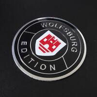 4x 60mm WOLFSBURG EDITION Schwarz / Rot Embleme Aluminium Aufkleber für VW