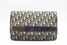 Christian Dior Vintage Trotter Clutch Bag CD Logo Unisex Canvas Navy 5153h