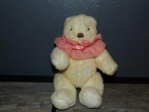 "Vintage 1989 Hallmark Heartline 11"" Plush Cream BEAR w/ Pink Collar (*1b)"