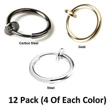 12 PACK! Clip on Non-pierced Hoops Fake Nose Lip Ear Rings Piercing 1.6mm Thick