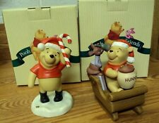 Lot/2 DISNEY Pooh and Friends CHRISTMAS Sweetest Sleigh PORCELAIN FIGURINES